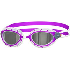 Zoggs Predator Mirror Googles Juniors Purple/White/Mirror